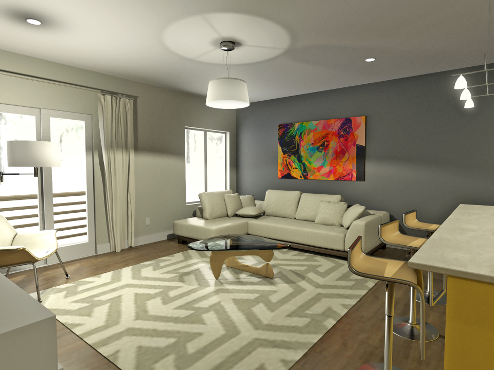 1br living room custom burnet on elliott modern charlottesville